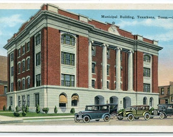 Municipal Building Texarkana Texas 1920s postcard