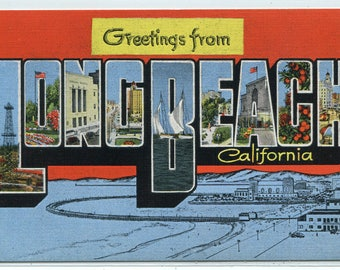 Greetings From Long Beach California Large Letter Linen postcard