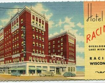Hotel Racine Wisconsin 1953 linen postcard