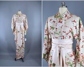 1960s Vintage Silk Kimono Robe / 1970s Wedding Dressing Gown Lingerie / Downton Abbey Art Deco / Ivory Cherry Blossom Floral Print