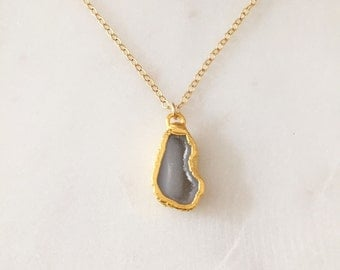 Gold Druzy Necklace / Druzy Necklace / Handmade