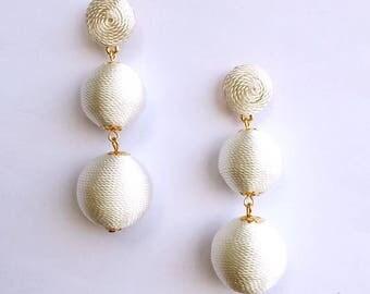 White Cord wrapped Les Bonbon bon bon Earrings