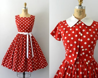 Vintage 1960s Dress Set - 60s Red Polkadot Sundress and Bolero Set