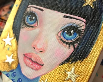 Star of the show, Showgirl, lowbrow, bigeye, australian artist, kimturnerart, pop surrealist, original painting, gold and blue