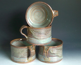 Hand thrown stoneware pottery chili/soup bowls set of 4 (CSB-2)