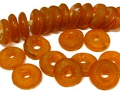 10 BEADS - Pumpkin Orange color African recycled glass donut shape disc beads  - AB056