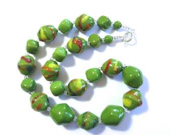 Kazuri Beaded Necklace, Fair Trade, Green Ceramic Necklace