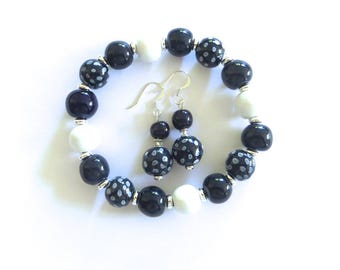 Kazuri Beaded Bangle, Fair Trade, Ceramic Jewelry, Kazuri Earrings, Navy Blue and White