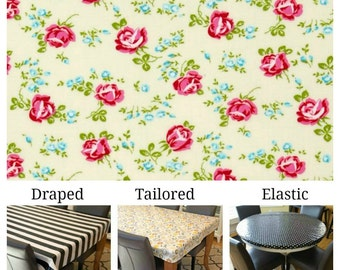 Laminated cotton aka oilcloth tablecloth custom size and fit choose elastic, tailored or draped, Tanya Whelan scattered roses ivory