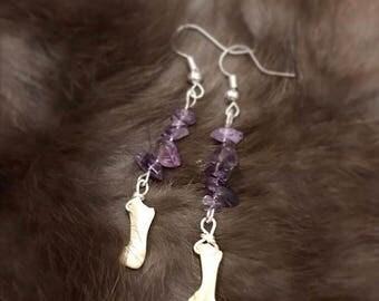 Bobcat Toe Bone and Amethyst Earrings