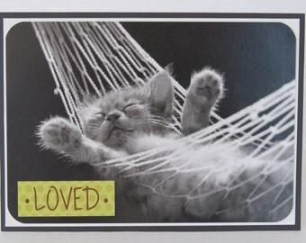 Sleeping Cat Loved Blank Handmade Card