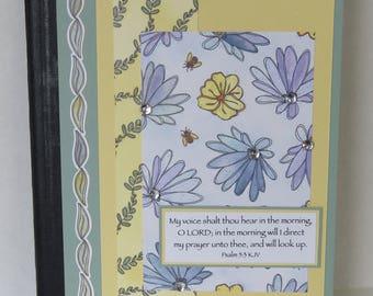 Spring Flowers Journal, Prayer Journal, Christian Notebook, KJV Scripture, Handmade Notebook.