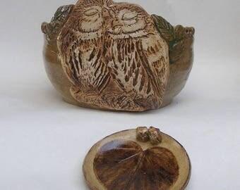 Owl Yarn bowl, Stoneware Ceramic Yarn Bowl, Small Heart Plate With Miniature Owls