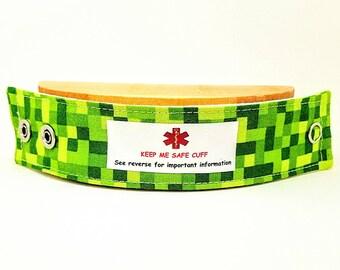Kids Medical Alert Bracelet Child ID Bracelet Allergy Alert Clothing Autism Safety Band Green Pixel
