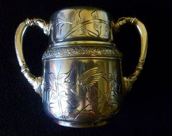 Victorian Barbour Brothers Aesthetic Silver Handled Open Sugar w/Japanese Birds Florals