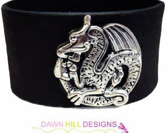 Dragon Bracelet Genuine Leather Cuff Bracelet Unisex Bracelet Bracelet his hers GOT Dragon Jewelry Game of Thrones bracelet with snaps