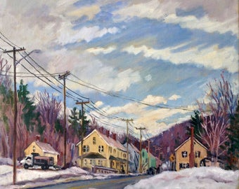 Snowy Mill Houses, North Adams. Oil Painting Landcscape on Canvas, 12x12 Impressionist Winter Snow Scene, Signed Original Realist Fine Art