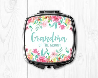 Pink Grandma of the Groom Gift from Bride Compact Mirror Wedding Gift for Grandma of the Groom Personalized Grandma of the Groom Gift