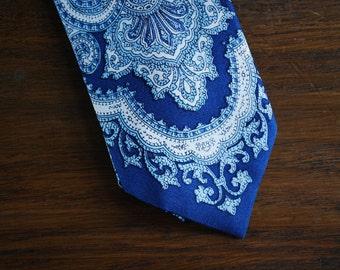 Blue paisley mid century tie fine menswear vintage modern 1960s