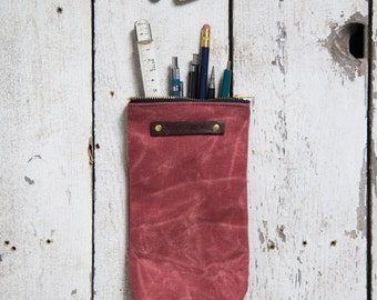 Waxed Canvas Scribbler Pouch in Radish, Accessory Case, Waxed Canvas Bag, Pencil Case, Cosmetic Case, Makeup Bag, Zipper Pouch, Zip Pouch
