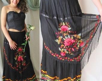 Embroidered Maxi Skirt, Fringe, Sheer Black, Ribbon, Bohemian, Vintage