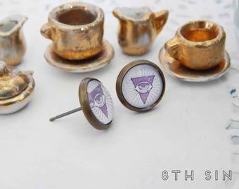 Antique Bronze All Seeing Eye Stud Earrings, Antique Bronze Freemason Earrings, All Seeing Eye Cameo Earrings, Eye of Providence Earrings