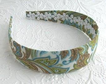 Paisley Fabric Covered Headband, Adult Womens Girls Hard Plastic Fabric Headband