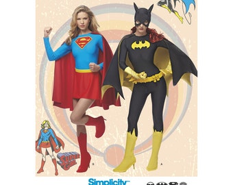 Pick Your Size - Simplicity Costume Pattern 1036 - Misses' Supergirl and Batgirl Costumes - DC Comics Costumes