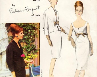 Vintage 1960's Vogue Dress Pattern 1315 by FEDERICO FORQUET - Misses' One-Piece Dress and Jacket - Scoop Front/Square Back - SZ 12/Bust 32""