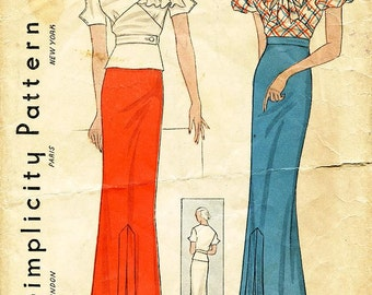 "Vintage 1930s Dress Pattern - Simplicity 1444 - Misses' Asymmetrical or Bow Blouse and Skirt - Sz 14/Bust 32"" - Roosevelt's NRA Approved"