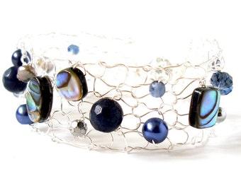 blue abalone bracelet delicate bracelet skinny cuff bracelet shell bracelet deep blue beaded bracelets handmade jewelry gift for her