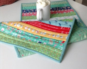 """QUILTED CHRISTMAS TABLERUNNER, Cozy Christmas, Scrappy Striped Tablerunner, 14"""" x 35"""", Quilted Table Linens, Traditional, Ready To Ship"""