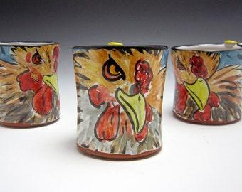 Ceramic Chicken Coffee Mug - Pottery Chicken Hen Mug - Year of the Rooster Mug - Majolica Mug - Blue Brown Red Coffee Cup - 14 ounce oz Mug