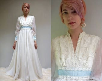 Bohemian Wedding Dress  //  Beaded Lace Wedding Dress  //  70s Wedding Dress  //  LA BOHEME