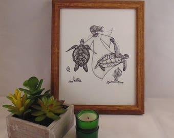 "Printable ""Turtle Love"" Original Artwork, Instant Download"