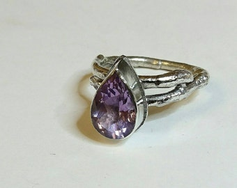 Sterling silver handmade twig style Amethyst pear shaped ring, hallmarked in Edinburgh