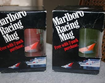 Two 2 Vintage Marlboro Racing Mugs Original Boxes Advertisement Collectible Tobacciana