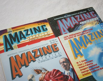 Four 4 Vintage Amazing Stories Magazines 1988 and 1989