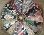 "Reserved for Lori  Shabby Chic Boho Cottage Round Sprocket Pillow 15"" Quilted Pillow Quiltsy Handmade"