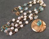 Bronze shell necklace, Apatite, pearl, moonstone necklace OOAK Handmade