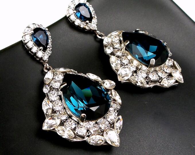 wedding jewelry bridal bridesmaid gift prom party christmas teardrop swarovski montana blue clear white crystal fancy rhinestone earrings