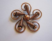vintage solid copper brooch - signed - flower, spiral copper brooch