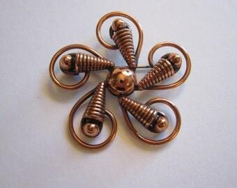 vintage solid copper brooch - signed - flower, spiral copper brooch