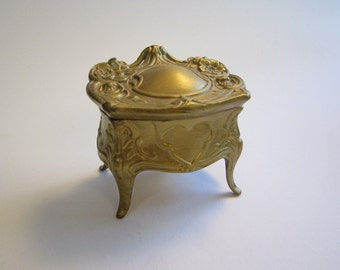 vintage jewelry casket - art nouveau trinket box - painted gold, as is