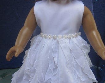 ruffled communion dress will fit your 18 inch doll such as American Girl