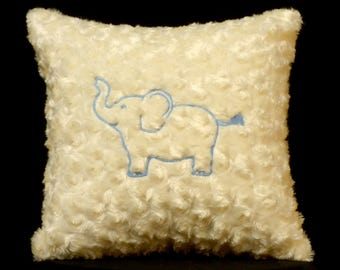 New Embroidered Soft Fluffy Glow-In-the-Dark Baby Elephant Pillow, New 12 x 12 Insert — Item 263