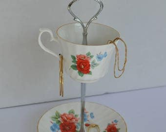 Floral Tea Cup Tiered Tray