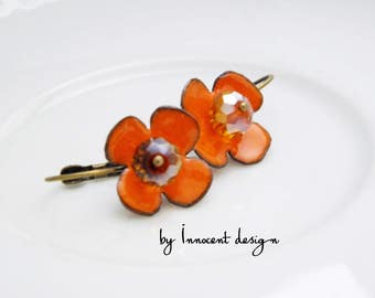Anemone - enamel earrings - flower - rose