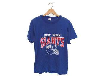 Vintage 80's Champion New York Giants Blue Weathered 50/50 Poly-Cotton Blend T-Shirt Made in USA - Large