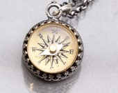 Sterling Silver Compass Necklace Working Compass Necklace Silver Compass Necklace